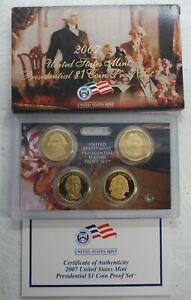 2007 United States Presidential PROOF $1 Dollar 4-Coin Set - U.S. Mint OGP LG582