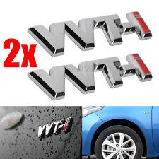 2x 3D Metal Trunk Badge Fender Emblem Silver/Red VVTI VVT-I Sticker for Toyota