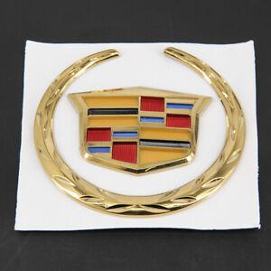 "For Cadillac Front Grille 4"" Emblem Hood Badge Gold Logo Chrome Symbol Ornament"