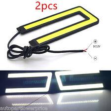 2pcs U Shape COB Daytime Run Light DRL Headlight Fog Signal Lamp 6000K led White