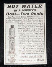 1907 OLD MAGAZINE PRINT AD, McCARTNEY PEERLESS KITCHEN BOILER, HOT WATER, 2 MIN!