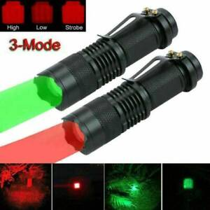 2Color Light LED Flashlight 3Modes Red Torch Lamp Astronomy Night Vision Camping