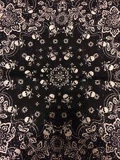 Skull and Crossbones Biker Bandana Doo Rag Black White (Scarf Head Wrap Hat Cap)
