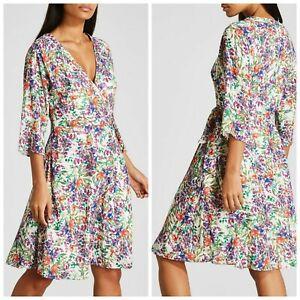 P BNWT FWM Fenn Wright Manson Floral Wrap Tea Dress sz  8 10 12 14 16 18  (D)
