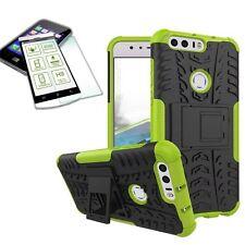 Hibrido Funda Estuche Exterior 2 Piezas Verde para Huawei Honor 8 + Cristal Duro