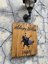 Halloween Sleepy Hollow Headless Horseman Rustic Sign Painting Old Antique Look