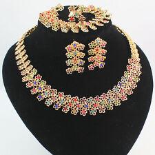 Women Gold Plated Rhinestone Necklace Bracelet Earring Ring Wedding Party Set