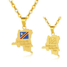 Democratic Republic of the Congo Map Flag Pendant DR Congo Gold Necklace Africa