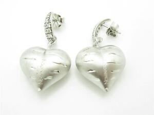 Nomination Italy Platinum Plated Sterling Silver Puffed Heart Dangle Earrings