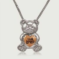 Helzberg Diamonds 10K Gold 925 Sterling Silver Diamond Bear Necklace I Am Loved