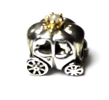 Pandora Sterling Silver 2 Tone Fairy Tale Royal Carriage Pearl Charm Bead 79059