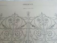 N52 ANCIEN DESSIN TECHNIQUE 33x47 Encre XIXè Arts & métiers ORNEMENTS GRILLE FER
