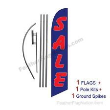 SALE (blue and red) 15' Feather Banner Swooper Flag Kit with pole+spike