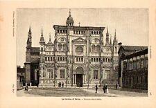 Stampa antica PAVIA Veduta della Certosa 1891 Old print