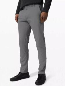 Lululemon Asphalt Light Gray Flat Front Commission Regular Fit Pants 34 x 28