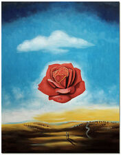 Meditative Rose - Hand Painted Salvador Dali Oil Painting On Canvas 16x20""