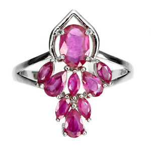 Oval Red Ruby 7x5mm 14K White Gold Plate 925 Sterling Silver Ring Size 9