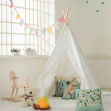 Indian Four Ploes Cotton Canvas Children Playhouse with Carry Bag Kids Teepee
