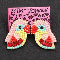 Woemen's Crystal Rhinestone Cute Little Bird Ear Stud Betsey Johnson Earrings