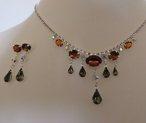 GOTHIC VINTAGE AMBER & GREEN DIAMANTE DROP NECKLACE & EARRING SET new gift pouch