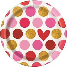 8 x Valentines Paper Plates Gold Hearts Party Tableware Buffet Dessert Plates