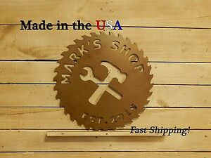 Shop Sign, Tool Shop, Workshop, Personalized Father's Day Gift, Saw Blade, S1119
