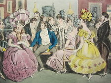 1892 Hand Farbiger Druck ~ Pariser Society Chaussee D'Antin (1826)
