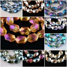5Pcs Charms Oval Hexagon Faceted Crystal Beads Loose Spacer 18x12mm Findings