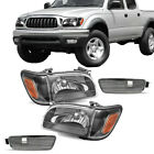 For Toyota Tacoma 2001-2004 Black Headlights Assembly Headlamps Bumper Pair