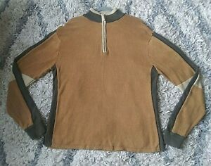 The Territory Ahead Wool Cotton L Brown 1/4 Zip Pullover Sweater Color Blocked