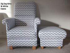 Zig Zag Grey Chevron Fabric Adult Chair & Footstool Nursery Accent Armchair New