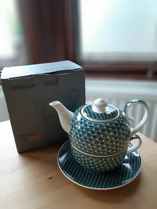 Jameson And Tailor Teapot And Cup, Green Geometric Print Tea For One Set BNIB