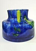 Murano Style Handcrafted Cobalt Blue and Green Unique Studio Quality Art Vase