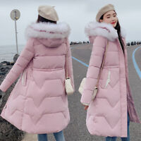 Plus Size Women Thicken Long Down Coat Quilted Puffer Fur Hooded Jacket Overcoat
