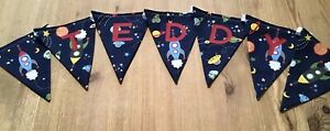 PERSONALISED ROCKET SPACE BOYS & GIRLS NAME FABRIC BUNTING - PRICE PER FLAG