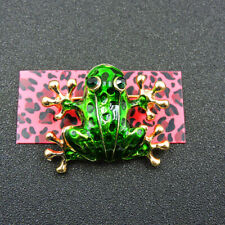 Animal Betsey Johnson Charm Brooch Pin Green Enamel Crystal Cute Pet Frog