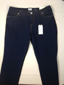 Ponte Denim Pants Black Blue Jeans size 4 Curvy Skinny Low Rise Style&co