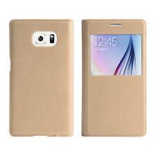 Samsung Galaxy S6 Flip Cover gold Schutz Hülle neu Case Uni Schutzhülle Tasche