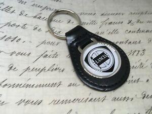 Lancia Quality Black Real Leather Keyring