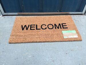 Welcome Coir Door Mat with Latex Back - 33.5cm x 60cm Welcome Front Door Mat