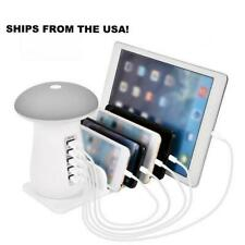 Multi Port Fast Charging Dock and Lamp 5 PORTS Gray (SHIPS FROM USA)