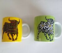 Spain Demitasse cups Espresso mini coffee mugs Madrid Toro Bulls 3oz 2 pc