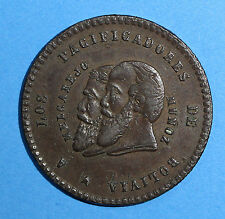 BOLIVIA Copper Pattern 1865 1/2 Melgarejo aXF Condition Seppa-P40 KM#Pn6