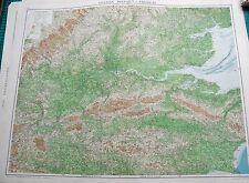 1919 LARGE ANTIQUE MAP-LONDON DISTRICT-PHYSICAL