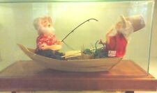 Annalee Signed Gone Fishin' Santa Mrs. Claus Fishing Boat Amazing Display Case