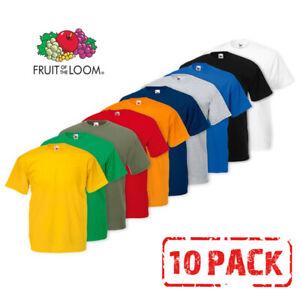10 Pack Fruit of the Loom T Shirts T Shirt Short Sleeve Cotton Plain Men/Women