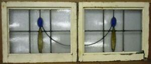 """PAIR OLD ENGLISH LEADED STAINED GLASS WINDOWS Simple Drops 21.75"""" x 17.75"""" each"""