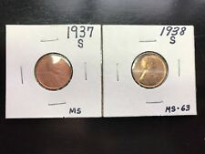 1937-S 1938-S Lincoln Wheat Cent Penny BU. L016