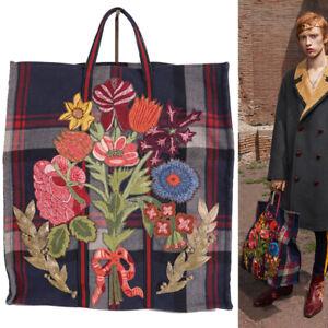 NEW $2,490 GUCCI RUNWAY Blue & Red Plaid Wool FLORAL APPLIQUéD Large TOTE BAG