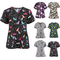 Details about  /Women Short Sleeve Vneck Tops Working Uniform Nurse Christmas Blouse Xmas Clinic